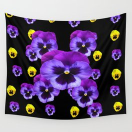YELLOW & PURPLE PANSY FLOWERS SPRINKLED ON BLACK Wall Tapestry
