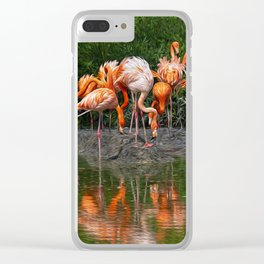 Flamingo Reflection Clear iPhone Case
