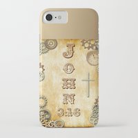 bible verses iPhone & iPod Cases featuring Steampunk Bible Verse John 3:16 by Whimsy and Nonsense