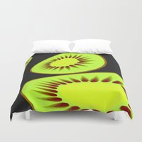 kiwi Duvet Covers featuring Kiwi by Trippin Up