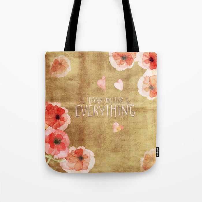Thank you for everything- Vintage  Flowers Roses floral Illustration Tote Bag