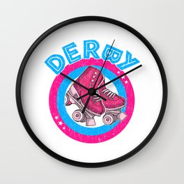 Roller Derby Girl 80s Skate Disco - Pink & Blue - Round Text Wall Clock