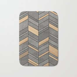 Abstract chevron pattern - concrete and wood Bath Mat
