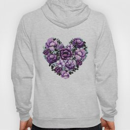 Purple Floral Heart Design Hoody