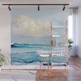 Blue Water Fluffy Clouds Wall Mural
