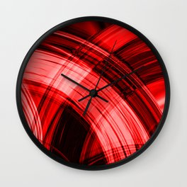 Iridescent pillars of scarlet curtains of flowing lines hanging down on velvet fabric. Wall Clock