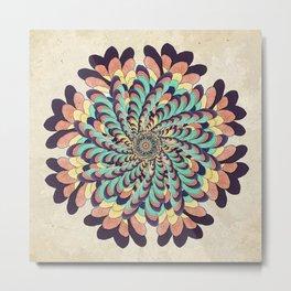 Maple Samaras Flower Mandala Metal Print