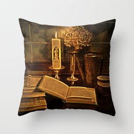 Old books and candle Throw Pillow