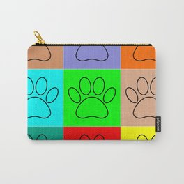 Puppy Paws In Squares Carry-All Pouch