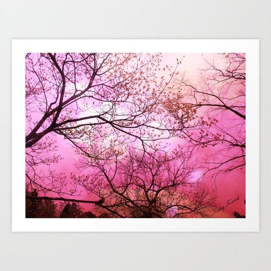 Surreal Pink Trees Nature  Art Print