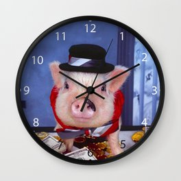 Funny pig and  the money Wall Clock