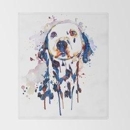 Dalmatian Head Watercolor Portrait Throw Blanket
