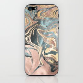 Liquid Gold and Rose Gold Marble iPhone Skin