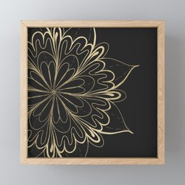Elegant hand painted black gold mandala floral Framed Mini Art Print