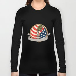 Grenade Microphone USA Flag Circle Retro Long Sleeve T-shirt