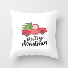 Merry Christmas Vintage Truck with Tree Throw Pillow