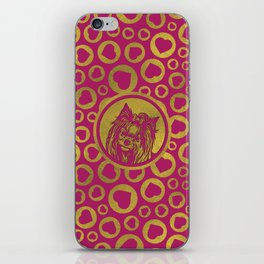Golden Yorkshire Terrier on pastel pink iPhone Skin