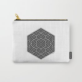 #3 Geometric Hexagon Black And White Carry-All Pouch