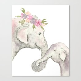 Elephant Mother and Baby Watercolor Canvas Print