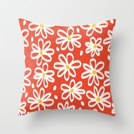 Cute White Floral Flower Pattern on Red Throw Pillow
