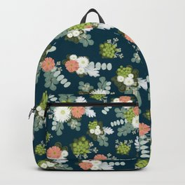 Rustic flowers in navy Backpack