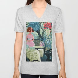 Flowered terrace Unisex V-Neck