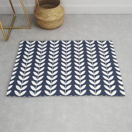 Navy Blue and White Scandinavian leaves pattern Rug