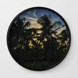 Golden Palm Trees Wall Clock