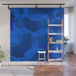 Abstract soap of blue molecules and blue bubbles on a marine background. Wall Mural