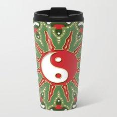 Red Yin Yang Sun Festive Mandala Metal Travel Mug