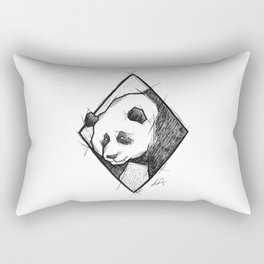 Panda Handmade Drawing, Made in pencil, charcoal and ink, Tattoo Sketch, Tattoo Flash, Sketch Rectangular Pillow