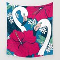 Flamingos and tropical flowers and leaves by katerinamitkova