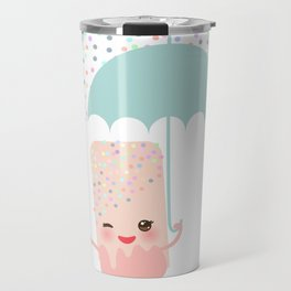 pink ice cream, ice lolly holding an umbrella. Kawaii with pink cheeks and winking eyes Travel Mug