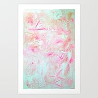Pink geometric Abstract Art Print