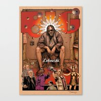 big lebowski Canvas Prints featuring Big Lebowski by ZIMZONOWICZ