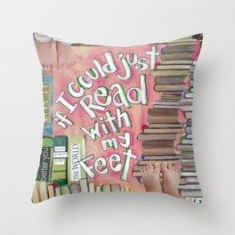 Feet Reading Throw Pillow