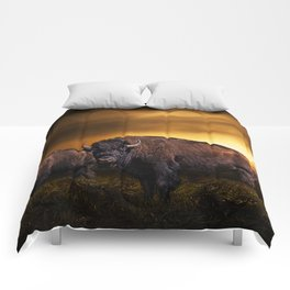 American Buffalo Bison under a Super Moon Rise Comforters