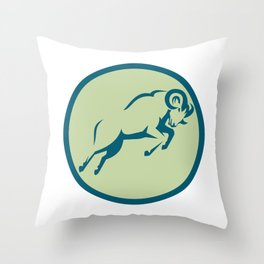 Mountain Sheep Jumping Circle Icon Throw Pillow