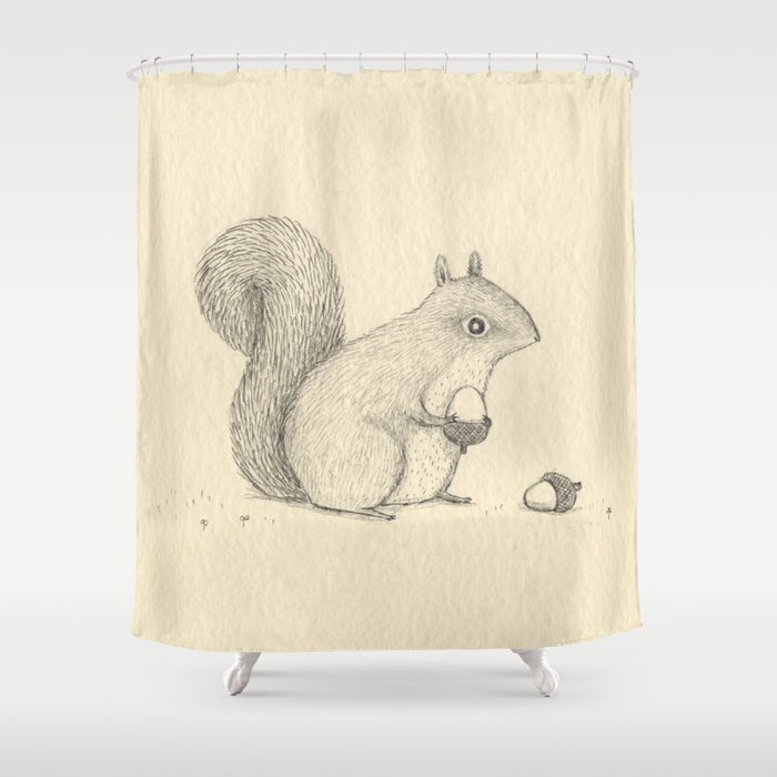 Monochrome Squirrel Shower Curtain By Sophiecorrigan