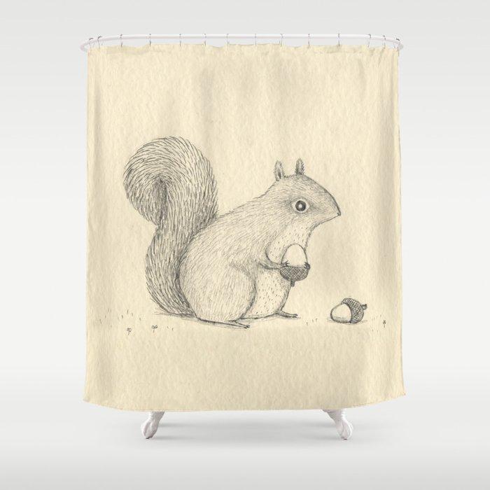Monochrome Squirrel Shower Curtain