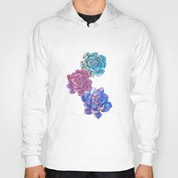 succulents Hoodies featuring Vibrant Succulents  by haleyivers