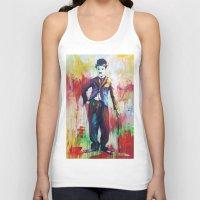 charlie chaplin Tank Tops featuring Charlie Chaplin by Marta Zawadzka
