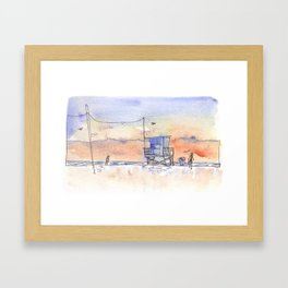 Sunset in Santa Monica Framed Art Print