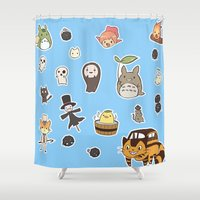 ghibli Shower Curtains featuring studio ghibli  by skymerol