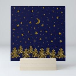 Sparkly Christmas tree, moon, stars Mini Art Print