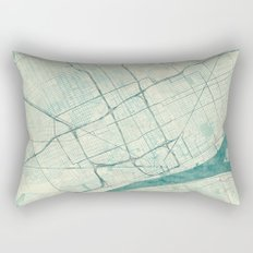 Detroit Map Blue Vintage Rectangular Pillow