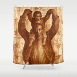 African-American Classical Masterpiece 'Black Father & Son, 1865' by Charles White Shower Curtain