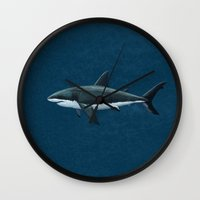 biology Wall Clocks featuring Carcharodon carcharias  ~ Great White Shark by Amber Marine