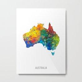 Australia Watercolor Map Metal Print