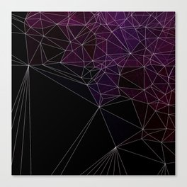 Polygonal purple, black and white Canvas Print